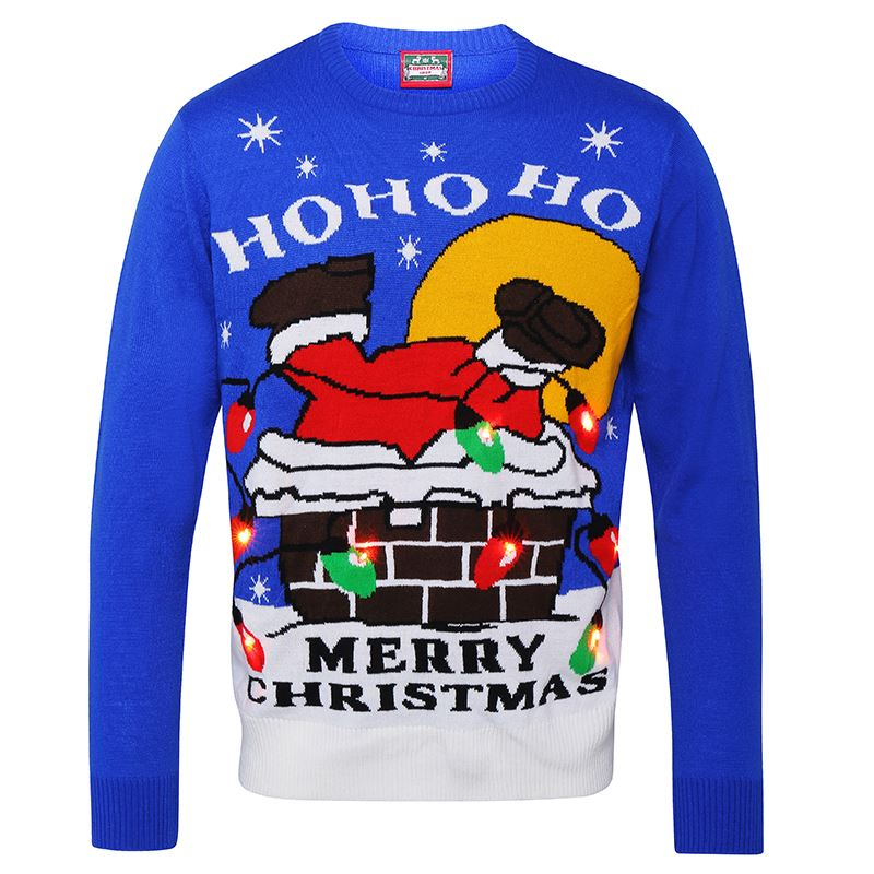 Adults 3D Santa Down Chimney Light Up Christmas Jumper