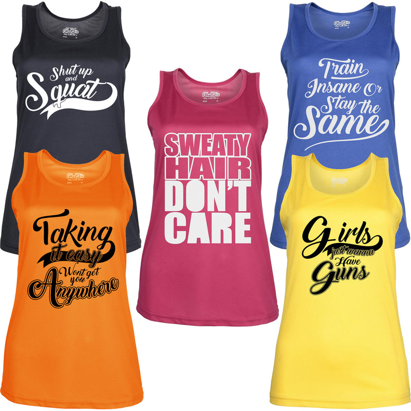 Womens 5 Pack Slogan Gym Tops