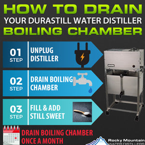 how to drain a durastill water distiller boiling chamber