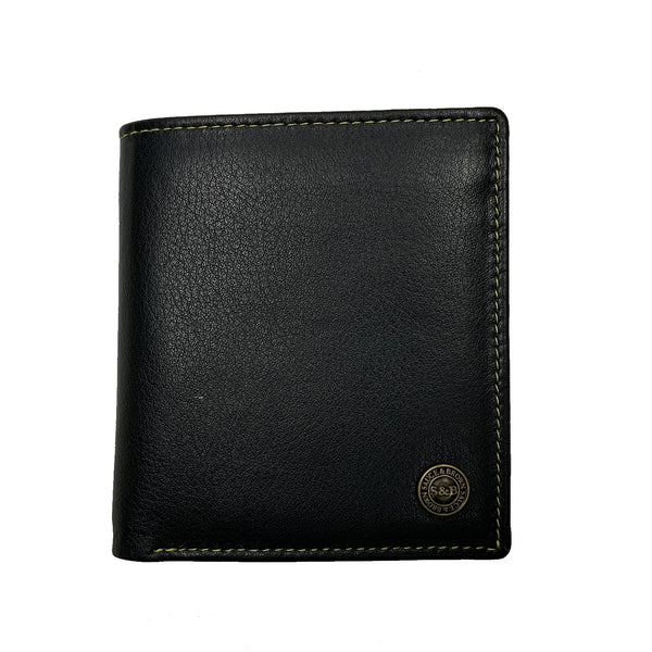 Heathcote Leather Fold Out Wallet Black - Sauce and Brown