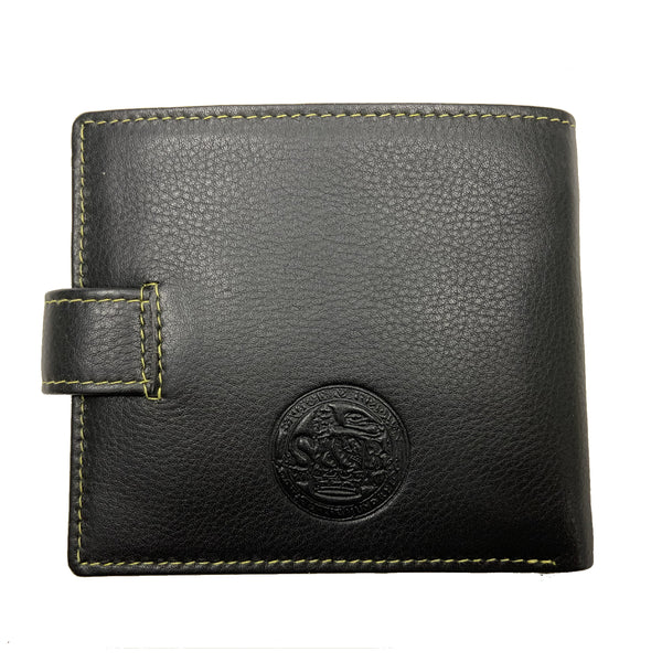 Heathcote Leather Zip Coin Wallet Black - Sauce and Brown