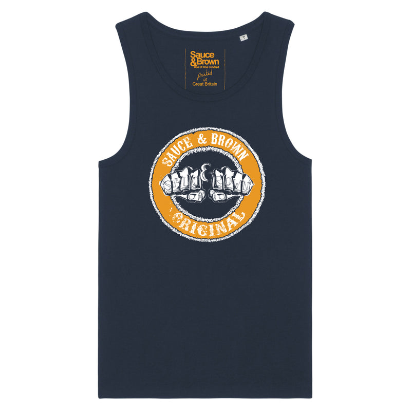 Knuckles Vest Navy - Sauce and Brown
