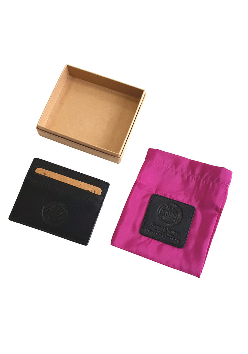Black Leather Card Holder - Sauce and Brown