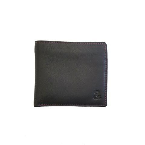 Black Leather Coin Pocket Wallet