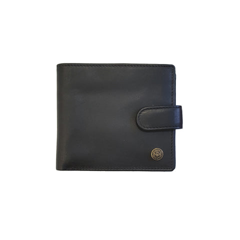 Black Leather Zip Coin Wallet