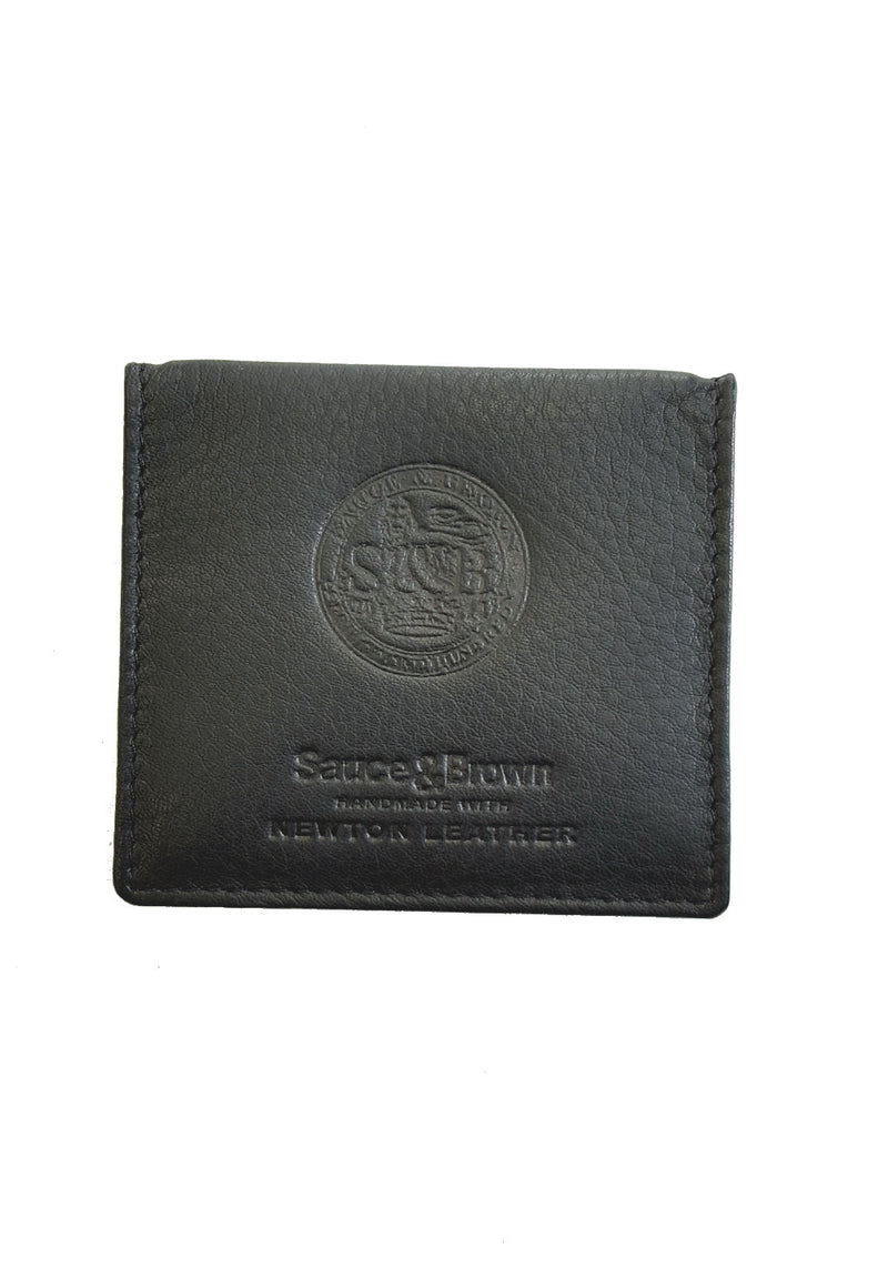 Black Leather Coin Holder - Sauce and Brown