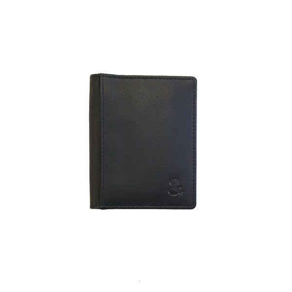 Black Leather Credit Card Holder - Sauce and Brown