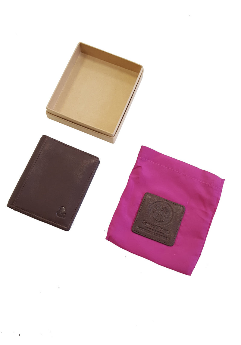 Brown Leather Credit Card Holder - Sauce and Brown