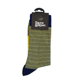 Yellow Stripe Socks - Sauce and Brown