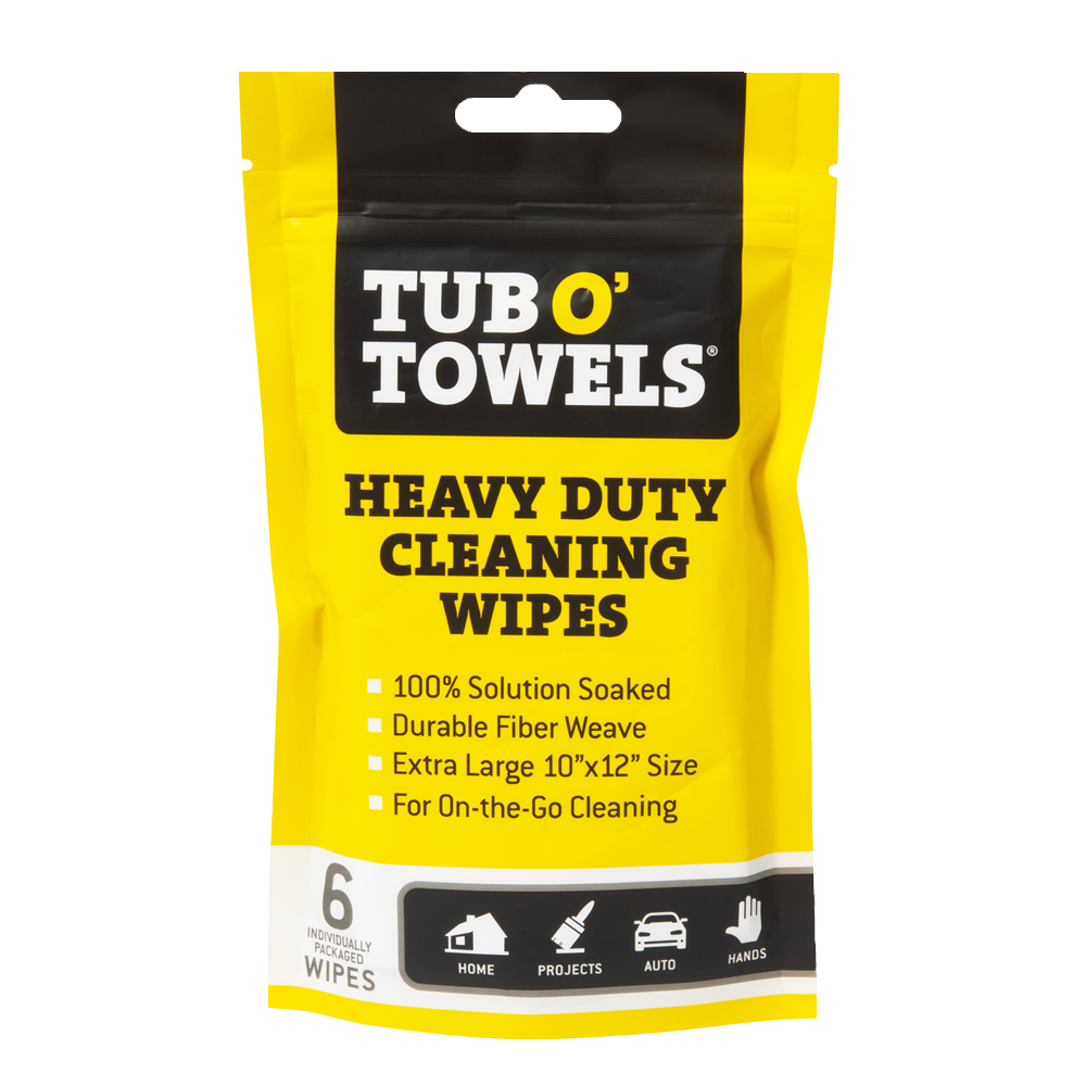 tub o towels on-the-go heavy duty cleaning wipes, 6-pack