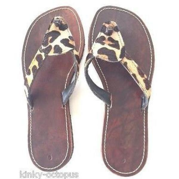 Santo Sandals - Girl's Leopard Leather Slider Sandals, Handmade Eco