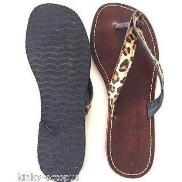 Cow Leather Furry Flip Flops