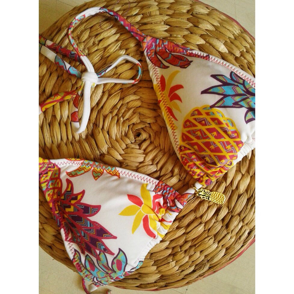 Opalocka Biquinis, Feeling Fruity? Pineapple Bikini Top, Gold Motif