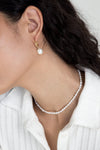 White Pearl Hoops - Gold