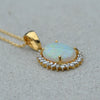 18ct Yellow Gold Opal & Diamond Pendant Necklace