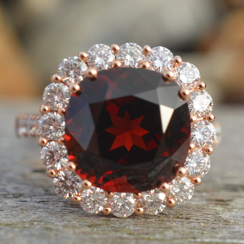 18ct Rose Gold Garnet & Diamond Ring