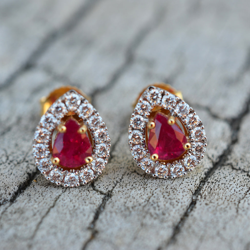 18ct Yellow Gold Ruby & Diamond Earrings
