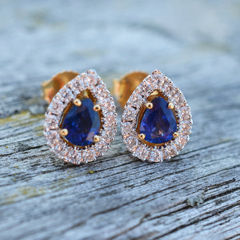 18ct Yellow Gold Sapphire & Diamond Earrings