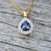 18ct Yellow Gold Sapphire & Diamond Pendant Necklace