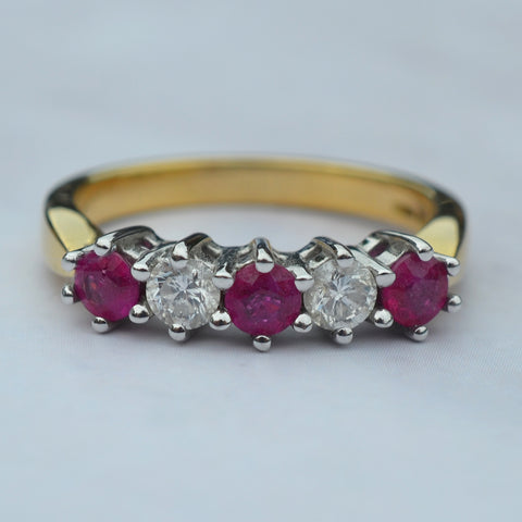 18ct Yellow Gold 5 Stone Ruby & Diamond Ring