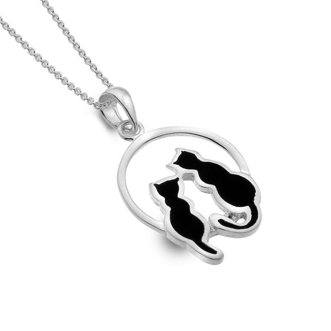 Sterling Silver World of Cats with Black Enamel Pendant Necklace