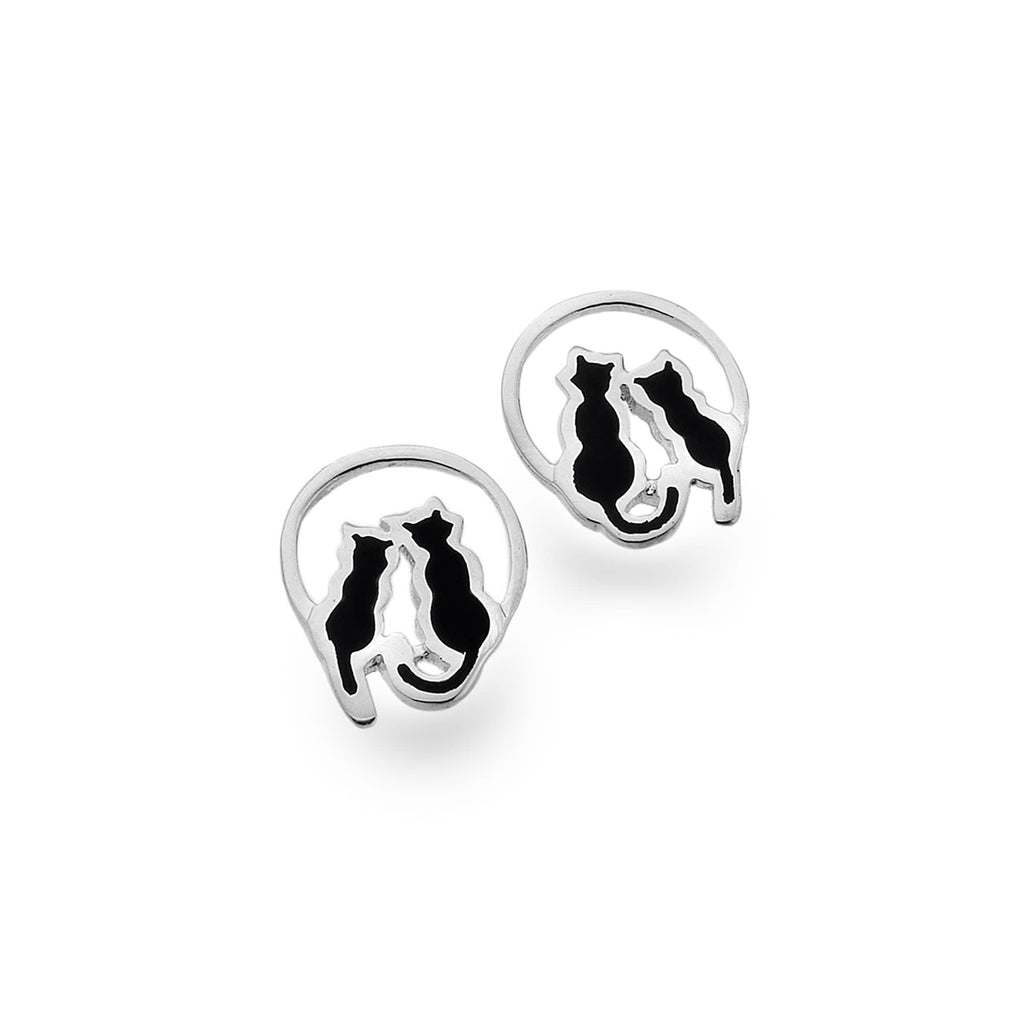 Sterling Silver World of Cats with Black Enamel Stud Earrings