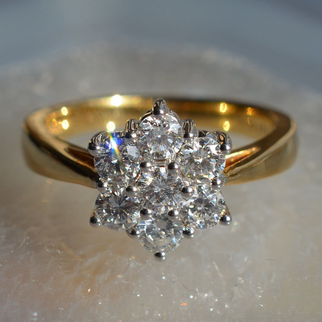 18ct Yellow Gold Diamond Daisy Cluster Ring