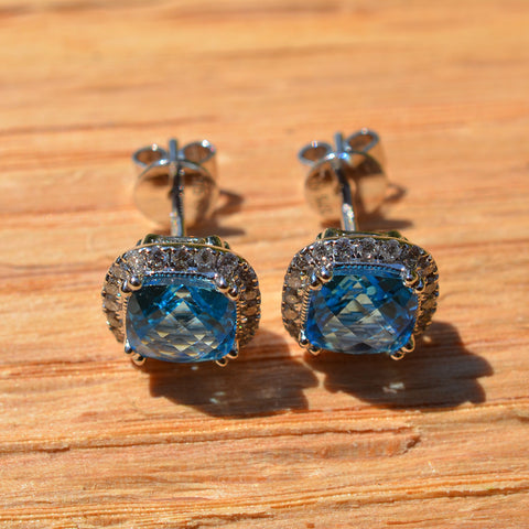 Blue Topaz & Diamond Cluster Earrings