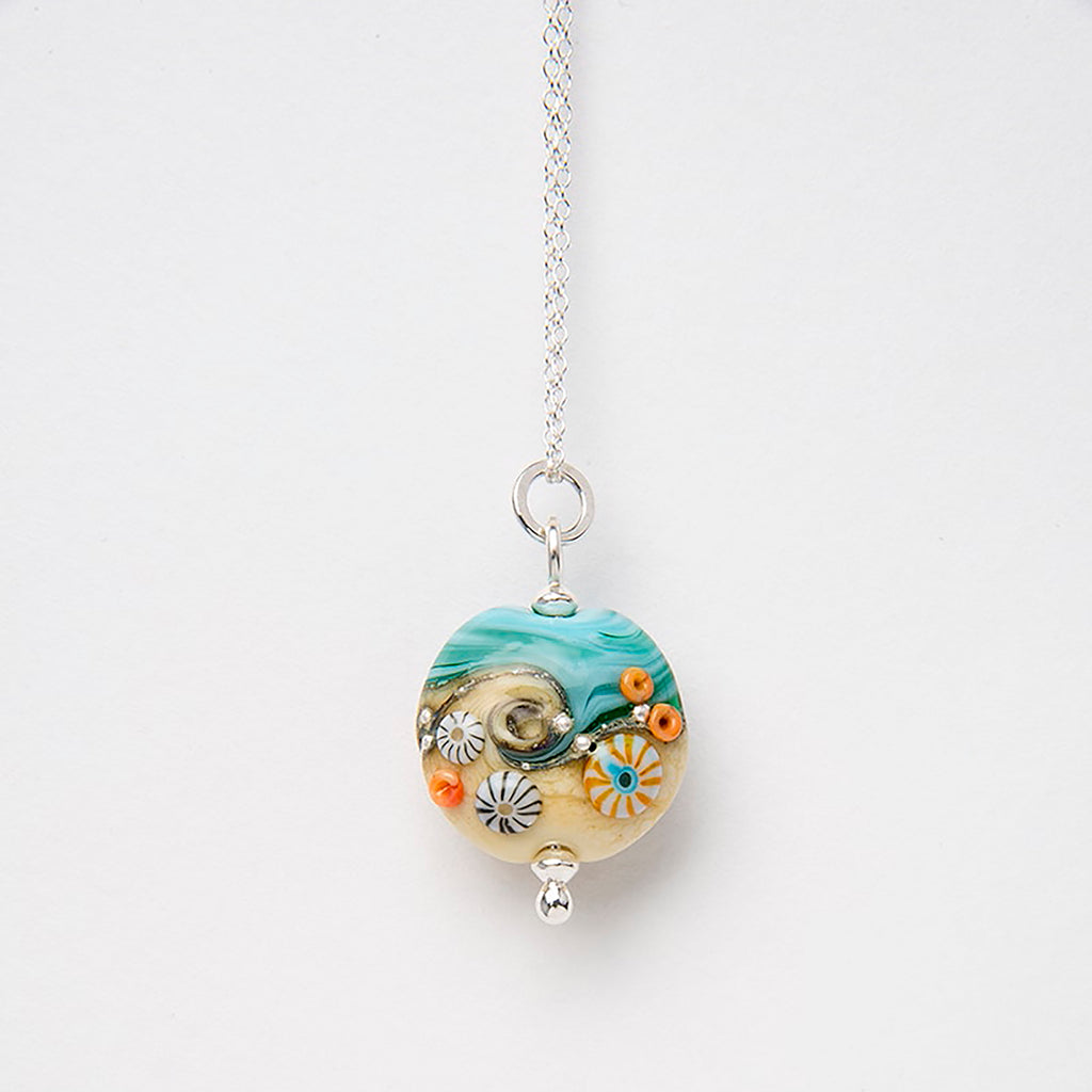 Beach Art Glass - Sand & Sea Beach Babe Lentil Necklace