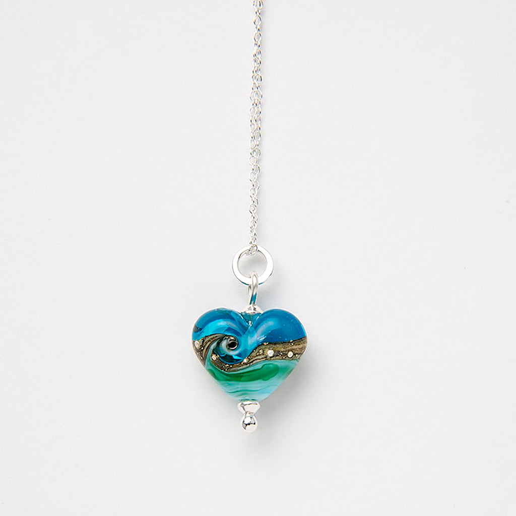 Beach Art Glass - Deep Blue Sea Babe Heart Necklace