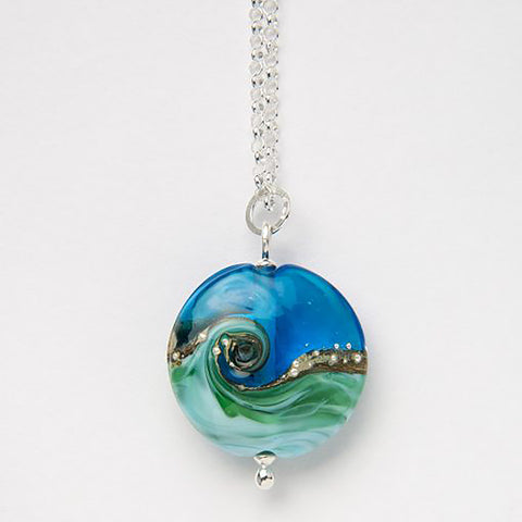 Beach Art Glass - Deep Blue Lentil Necklace