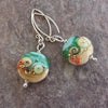 Beach Art Glass - Sand & Sea Lentil Drop Earrings