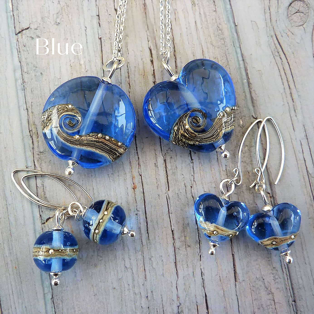 Beach Art Glass - Shoreline Blue Lentil Necklace