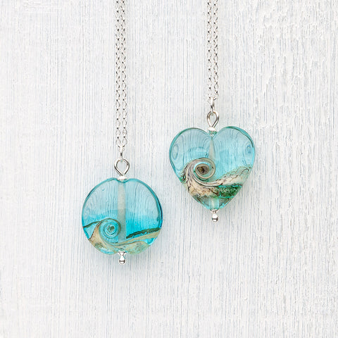 Beach Art Glass - Turning Tides Heart Necklace