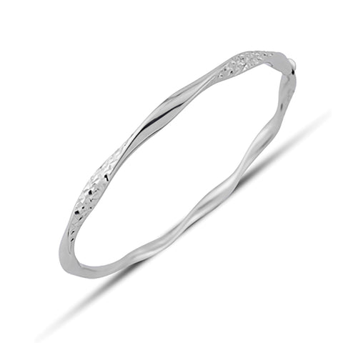 9ct White Gold Contemporary Hinged Bangle