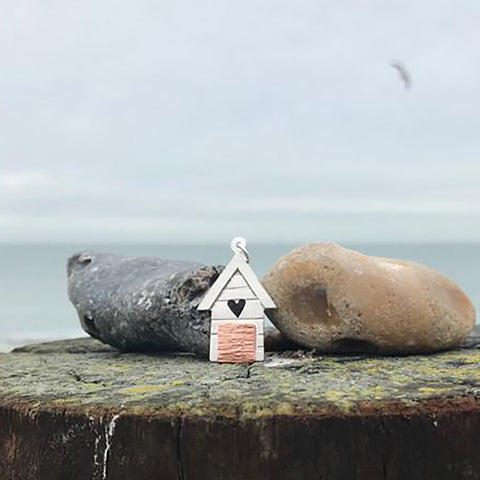 Handmade Large Silver Beach Hut with Heart Cutout Pendant