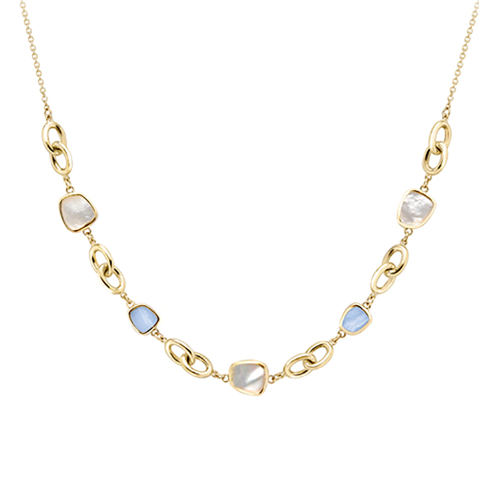 9ct Yellow Gold with Blue Lace Agate & Mother of Pearl Necklet