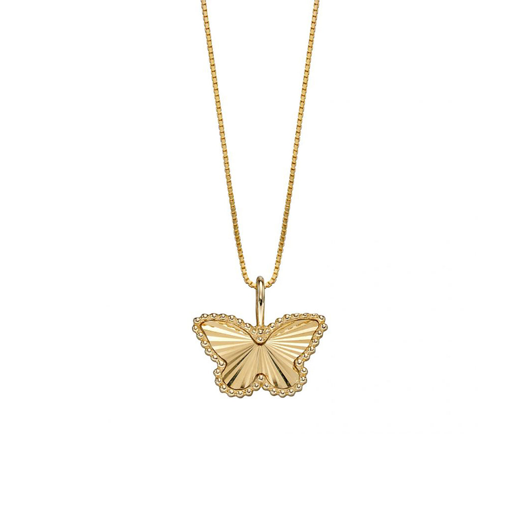 9ct Yellow Gold Butterfly Pendant Necklace