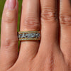 18ct Yellow & White Gold Diamond Floral Band Ring