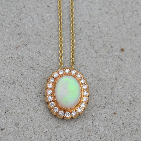 9ct Yellow Gold Opal & Diamond Pendant Necklace