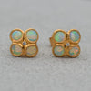 9ct Yellow Gold Opal & Diamond Stud Earrings