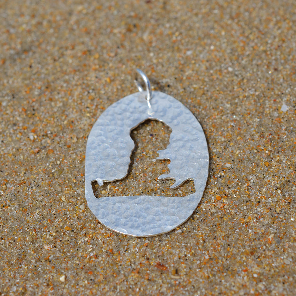 Handmade Silver Large Hayling Island Hammered Cutout Pendant