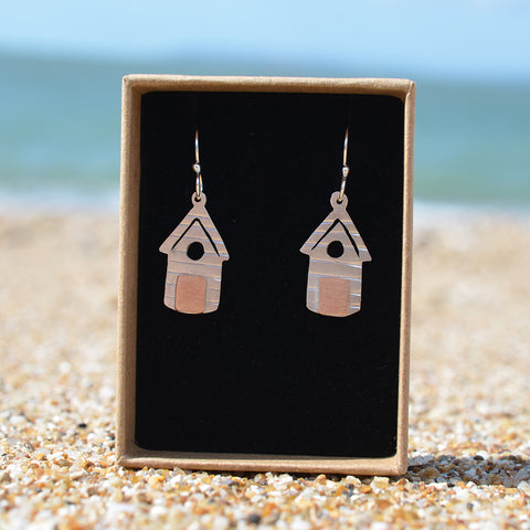 Handmade Silver Beach Hut Outline Drop Earrings