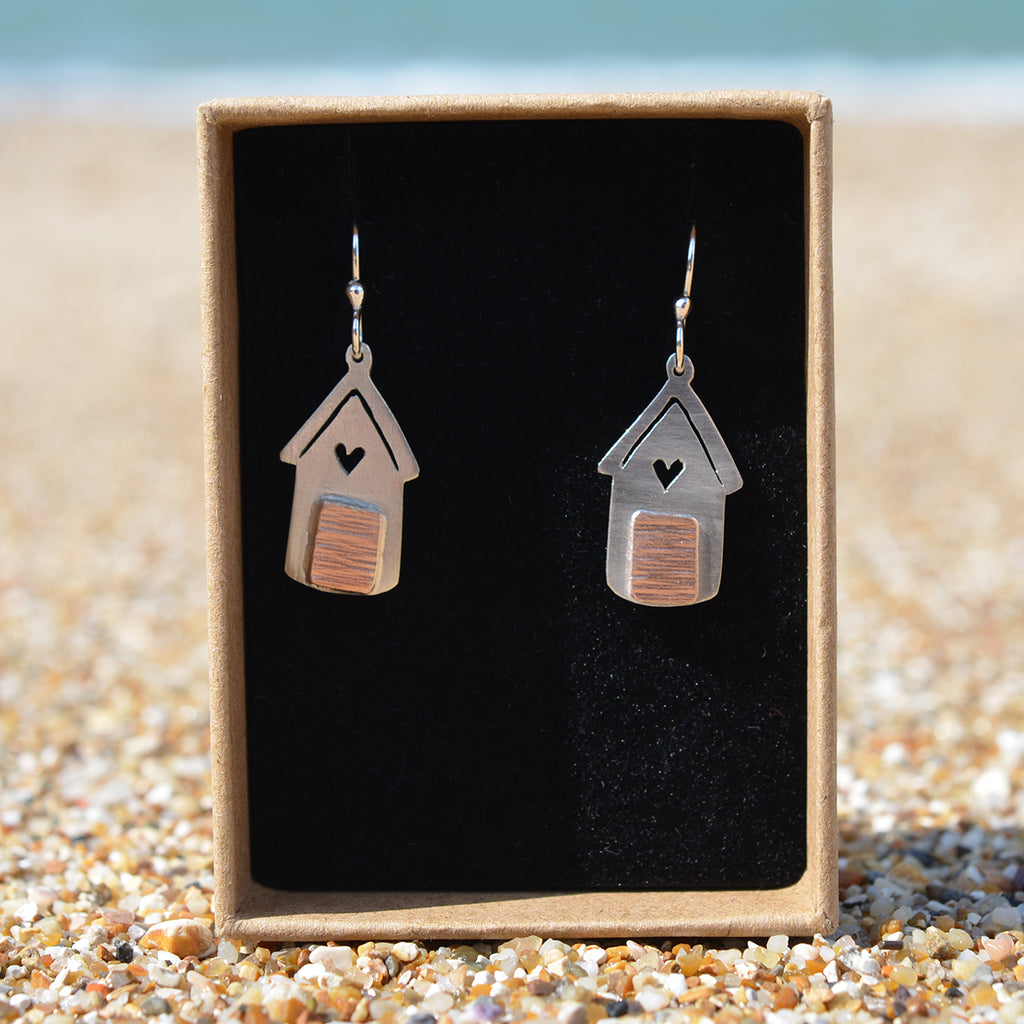 Handmade Silver Beach Hut Outline With Heart Drop Earrings