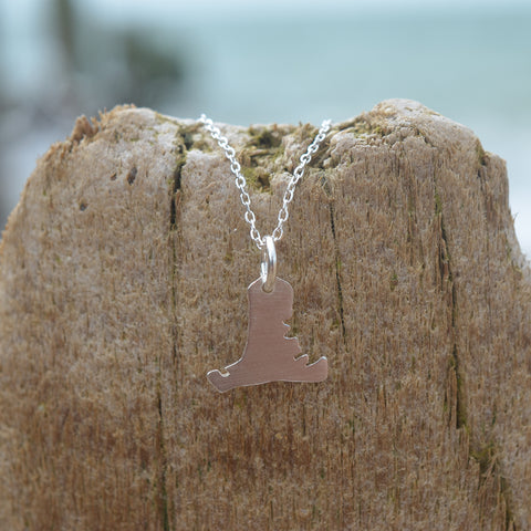 Handmade Silver Small Hayling Island Outline Pendant