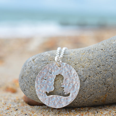 Handmade Silver Hammered Medium Cutout Hayling Island Pendant