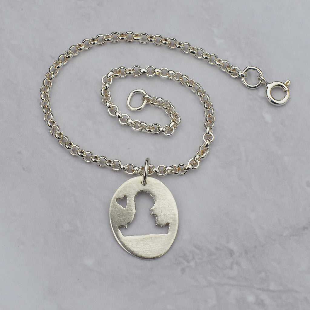 Handmade Silver Small Hayling Island Oval Charm On Bracelet