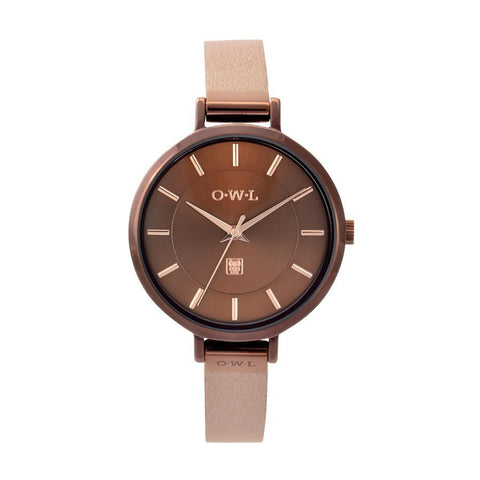 O.W.L Mayfair Collection Ladies Watch Chocolate & Pearl Strap
