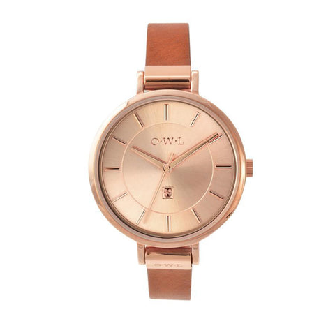 O.W.L Mayfair Collection Ladies Watch Rose Gold & Tan Strap