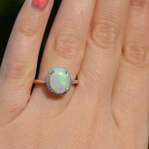 9ct White Gold Opal & Diamond Cluster Ring